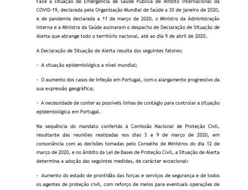 AVISO À POPULAÇÃO _ Declaração de Situação de Alerta até 9 de abril de 2020
